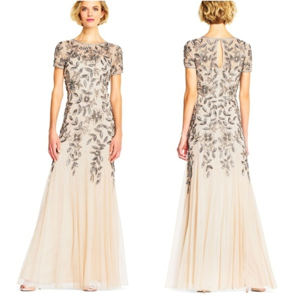 Adrianna Papell Dresses Floral Beaded Godet Gown Poshmark
